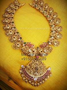 Gold Plated Antique Mango Mala Designs From Ms Pink Panther, Ms Pink Panther Jewellery Collections. Ruby Necklace Designs, Jewelry Design Earrings, Gold Jewellery Design, Antique Jewellery, Gold Wedding Jewelry, Black Gold Jewelry, Bridal Jewelry, Mango Mala Jewellery, Gold Necklace