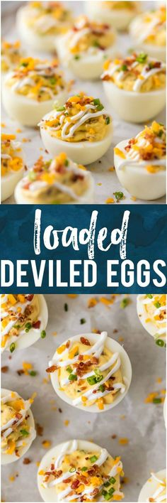 DEVILED EGG RECIPE LOADED just like a Loaded Baked Potato! Smothered in a mixture of cheese, bacon, sour cream, chives, and more! This is the BEST Deviled Eggs Recipe perfect for Easter, Christmas, or any day in between. #deviledeggs