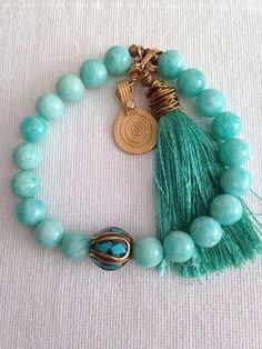 Turquoise | Aqua | accessory, bracelet, tassel, beads