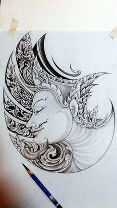 ีีี Hindu Tattoos, Asian Tattoos, Body Art Tattoos, Khmer Tattoo, Thai Tattoo, Thailand Art, Thailand Tattoo, Hanuman Tattoo, Koi