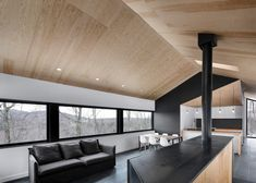 Bolton House by Naturehumaine « Inhabitat – Green Design, Innovation, Architecture, Green Building Architecture Design, Cabinet D Architecture, Landscape Architecture, Bolton House, Plywood Ceiling, Raked Ceiling, Ceiling Windows, Plywood Interior, Minimalist Home