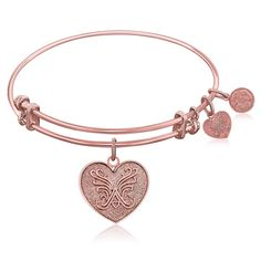 Expandable Bangle in Pink Tone Brass with Heart Symbol
