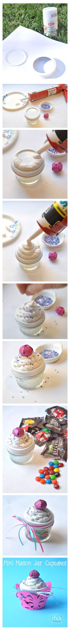 Mini Mason Jar Candy Cupcakes DIY craft using caulk and beads. Very cheap and easy. Fun party favors!