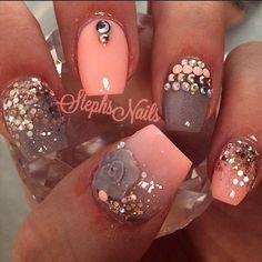 nails -                                                      Stephanie Rochester @_stephsnails_ CoralFloral #cora...Instagram photo | Websta (Webstagram)