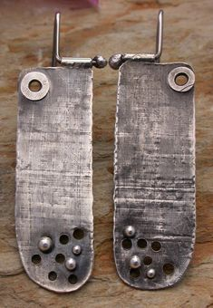 Recycled textured sterling silver tab earrings Artisan jewelry