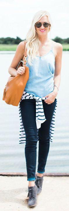 Mc Kenna Bleu Chambray And Stripes Fall Inspo