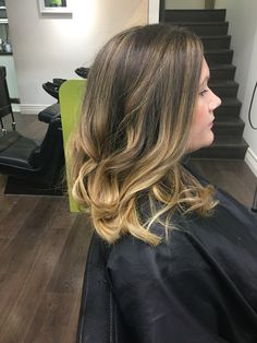 Half head of micro foils and a painted on ombré