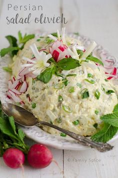 Virtual Picnic, Persian Style: Salad Olivieh (Persian Potato Salad with Chicken) - Family Spice Iranian Cuisine, Iranian Food, Persian Salad, Persian Chicken, Eastern Cuisine, Middle Eastern Recipes, Healthy Salad Recipes, International Recipes, Gourmet