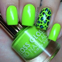lime green nail with blue leopard print accent ring nail