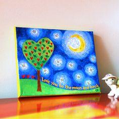 Nursery Art, LOVE YOU to the MOON, 10x8x3/4 Acrylic Canvas, Art for Kids, Nursery Decor, Baby Decor