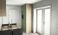 Moderne eiken keuken met groen in 3D | ontwerp: Monique van Koppenhagen | kleuren: bardolino eiken en mos groen | werkblad: Belgian Blue Satinato #styling #interieurstyling #interieur #interieurbouw #keuken #eiken #composiet #3D #maatwerk  #landelijk #groen #mosgroen