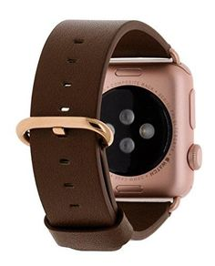 Apple Watch Band 38mm Leather Strap Replacement Watchbands for iWatch Series 2 Series 1 Edition Sport (Green Grey+Rose Gold Clasp)