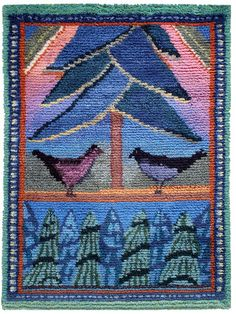 Textile artist Sirkka Könönen, Finland, 'Vesilahden linnut', rya wall rug