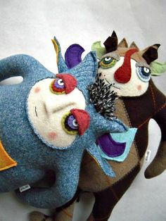 Monster Stuffed Animal with Hair Blue Repurposed by sweetpoppycat, $50.00