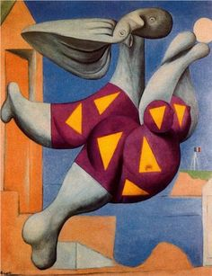 Bather with Beach Ball, 1932 by Pablo Picasso. In this painting Picasso depicted his young mistress, Walter, as a pneumatic plaything, a floating zeppelin with a blow-up tube for her head. Kunst Picasso, Art Picasso, Picasso Paintings, Picasso Images, Picasso Pictures, Picasso Style, Georges Braque, Cubist Movement, Cubism Art