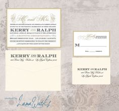 Blush and Champagne Gatsby Inspired Flat Wedding Invitation - Kerry and Ralph on Etsy, £3.23