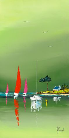 L'abri cotier - Frédéric Flanet - IG 6071 - Please respect our (C)opyright Frederic, Wall E, Gouache, Oeuvre D'art, Painting Inspiration, Creative Art, Landscape Paintings, Sailing, Abstract Art