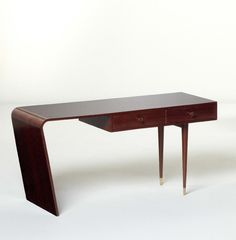 Joaquim Tenreiro; Garapa and Brass Side Table for  Langenbach & Tenreiro Ltda., c1947.