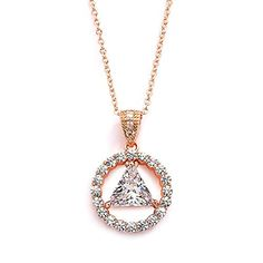 """Mariell 14K Rose Gold Plated AA Recovery Necklace CZ Unity Pendant - Great Jewelry Gift for Sober Women. covery Symbol Pendant Celebrates Life in a Beautiful Clear CZ Design; RECOVERY, UNITY & SERVICE - Sparkling Keepsake and Daily Reminder of the Miracle. Genuine 14 Karat Rose Gold plated; 16""""-18"""" Adjustable Necklace with 1/2"""" Drop; Triangle Shaped Trillion-Cut CZ. Stones are Top Quality AAAAA Grade Cubic Zirconia, 12 Step Triangle in Circle Medallion. Lifetime Guarantee for Enduring…"""