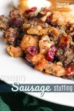 Cranberry Sausage Stuffing is the best stuffing ever! It is a sweet and savory stuffing that is always a Thanksgiving favorite! via Cranberry Sausage Stuffing is the best stuffing ever! It is a sweet and savory stuffing that is always a Thanksgiving. Stuffing Recipes For Thanksgiving, Turkey Stuffing, Sausage Stuffing, Thanksgiving Ideas, Sausage Apple Cranberry Stuffing Recipe, Stuffing Mix, Homemade Stuffing, Dinner For 2, Dinner Ideas