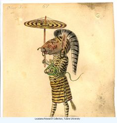 Zebra. Costume design from Mistic Krewe of Comus' 1873 Missing Links' parade. by Charles Briton. New Orleans.