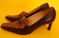 Brown Tiled Animal Print Buckle julio pointy toe heels 35 1/2 womens shoes #Julio #PumpsClassics #WeartoWork