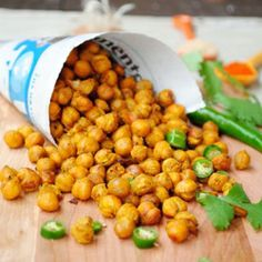 oven roasted masala, cayenne chickpeas. A spicy, healthy snack!