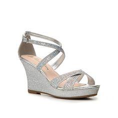 8fb3648eb1a1 Crystal Cross Strap Wedge Wedding   Bridesmaid Sandal - Silver