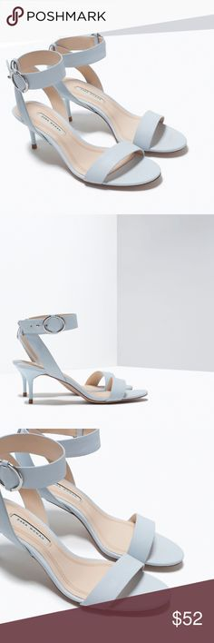 Zara / Light Blue Midi Heel Adorable Zara Light blue mid-heel sandals. Ankle buckle closure. Heel height of 6 cm. Upper: 100% polyurethane. Lining: 100% polyurethane. Sole: 100% thermoplastic rubber. Size 10 Zara Shoes Heels