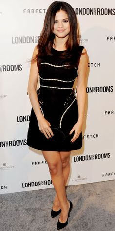 Gomez styled her buckled Marios Schwab LBD with a patent leather-trimmed Lauren Merkin minaudiere and pointy-toe pumps at the British Fashion Council's L.A. event.