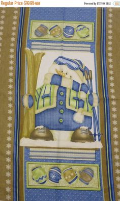 """50% OFF SALE Flannel Panel, """"Snow Much Fun"""" by Shelly Comiskey for Henry Glass Fabrics, Fast Shipping, P118"""