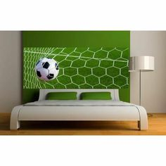Stickers Tête de lit déco Football Dimensions -… - Achat / Vente stickers - Cdiscount Dream Rooms, Dream Bedroom, Kids Bedroom, Soccer Room, Deco Stickers, Bedroom Themes, Kid Spaces, Kid Beds, New Room