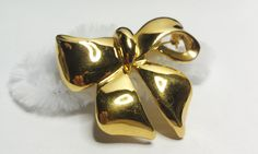 Vintage Gold Tone Bow Pin / Brooch by amyrigs on Etsy,