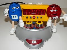 M&M's Collectible AM/FM Radio Digital Alarm Clock Tested & Works Blue Red Candy in Collectibles, Advertising, Food & Beverage   eBay