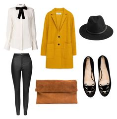 """""""Black and White with a pop of fall colors"""" by dgisel on Polyvore featuring Topshop, Alexander McQueen, Charlotte Olympia, Zara, BeckSöndergaard, NYC and iloveflats"""