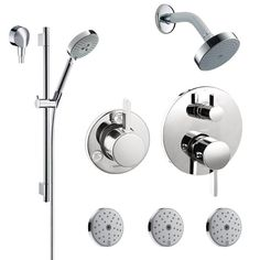 """Hansgrohe HG-T301 S Shower Faucet with Thermostatic / Volume Control Trim, Diverter Trim, Single Function Shower Head, Shower Arm, Multi Function Hand Shower, 63"""" Techniflex Hose, Wall Bar, 3 Body Sprays and Wall Supply Less Thermostatic and Diverter Valve"""