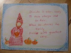 Waldorf ~ 1st grade ~ Math ~ Four Processes ~ Gnome Divide ~ main lesson book