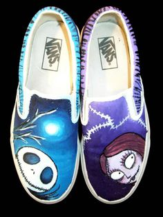Jack and Sally shoes for a friend. Nightmare Before Christmas characters  (c) Tim Burton Jack Sally Vans a47e8fdcd