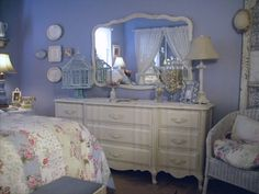 Master bedroom -   This bedroom set is from 1960s and it's  painted  white.