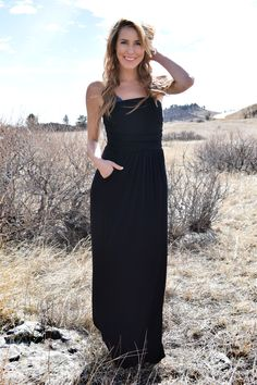 Looking Lovely Strapless Maxi Dress Black