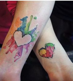 Water color heart, Couples tattoos