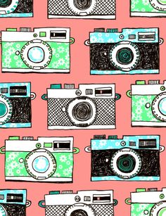 Photography/Camera pattern, pink, blue, and mint green. Looks like drawing.