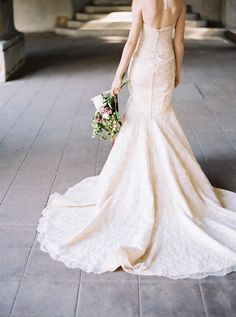 Elegant Champagne Lace Mermaid Wedding Dress | Katie Grant Photography | Old World Architectural Wedding Styling in Lace and Pearl