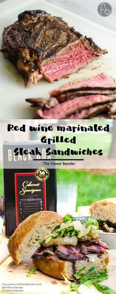 [Msg 4 21+] Red Wine marinated Grilled Steak Sandwiches with a Red wine Glaze, Grilled Onions, Arugula and Aged Cheddar. Red wine marinated, succulent, perfectly grilled steak, sliced and piled on toasted bread topped with a buttery red wine glaze! A Perfect Picnic Sandwich! REPIN to save. CLICK to get the recipe now. #TheFlavorBender #BlackBoxSummer [ad]