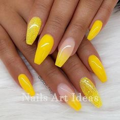 Trendy Yellow Nail Art Designs To Make You Stunning In Summer;Acrylic Or Gel Nails; French Or Coffin Nails; Matte Or Glitter Nails; Summer Acrylic Nails, Cute Acrylic Nails, Acrylic Nail Designs, Glitter Nails, Cute Nails, Nail Art Designs, Summer Nails, Acrylic Nails Yellow, Spring Nails