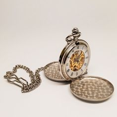 Silver Tone Antique Skeleton Mechanical Style Two-Door Pocket Watch