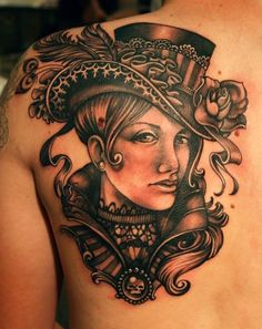 Victorian Lady by Teresa Sharpe: Tattoo Inspiration - Worlds Best Tattoos Love Tattoos, Black Tattoos, Body Art Tattoos, Tattoos For Women, Tattoos For Guys, Ladies Tattoos, Tasteful Tattoos, Portrait Tattoos, Awesome Tattoos