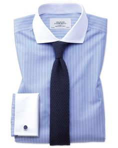 Extra slim fit cutaway non-iron Winchester blue and white shirt Formal Shirts, Casual Shirts, Man Dress Design, Mens Shirt And Tie, Shirt And Tie Combinations, Winchester, Formal Men Outfit, Blue And White Shirt, Suit Fashion