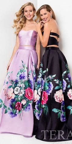 Gracious and elegant, this Floral Two Piece Box Pleated Ball Gown by Terani Couture is a total show stopper. This style features a strapless sweetheart neckline with a unique cut out at the back. This A-line box pleated silhouette skirt will grab everyone's attention as you make a dramatic entrance and the gorgeous floral print is stunning and eye catching. #edressme