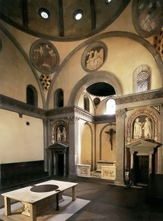 Medici Chapels and Church of San Lorenzo - Florence. Brunelleschi - Old Sacristy.